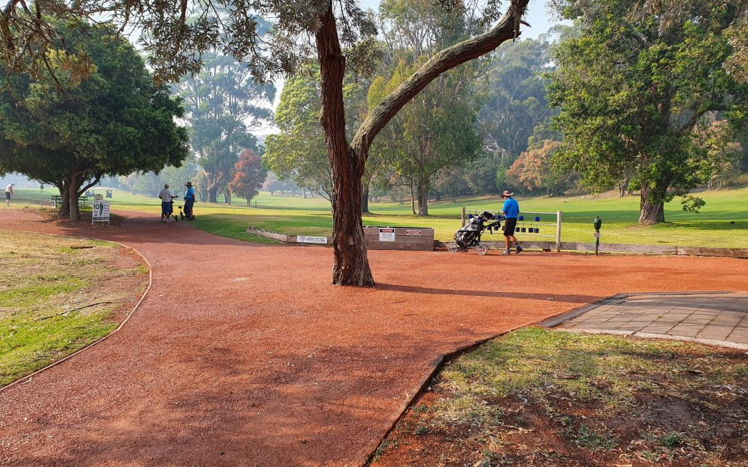 DirtGlue Industrial Polymer used to rebuild pathways at Nelson Bay Golf Course